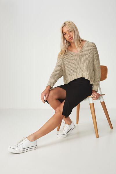 Cleo Knit Tube Skirt, BLACK
