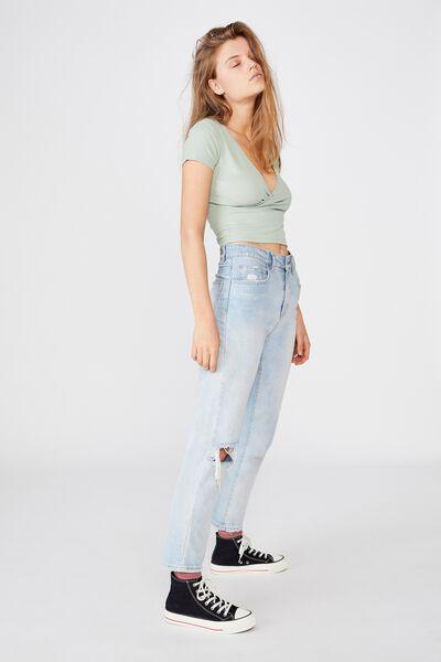 Toni Cross Front Short Sleeve Top, LUSH GREEN