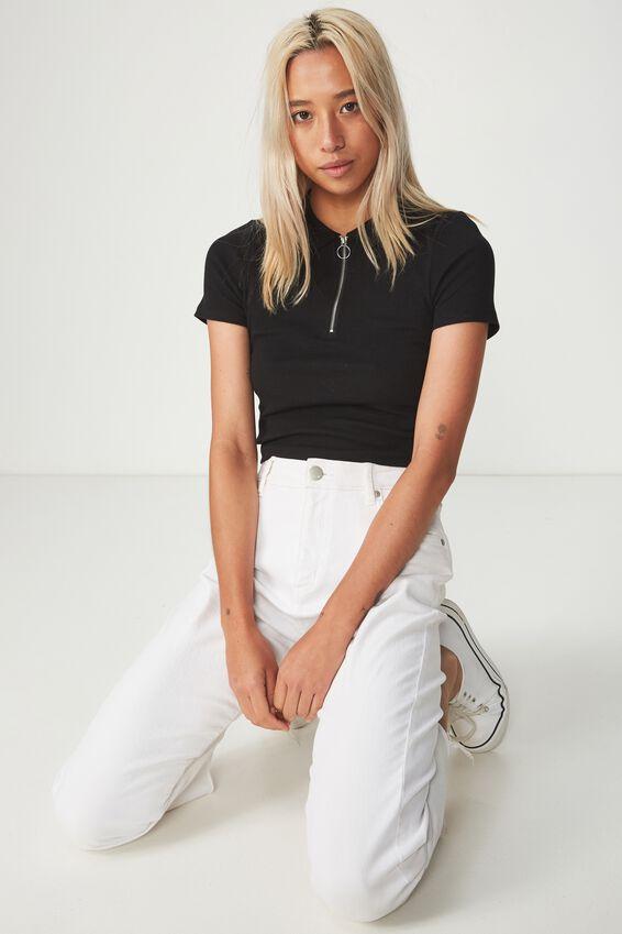 Nadine Zip Front Short Sleeve Top, BLACK