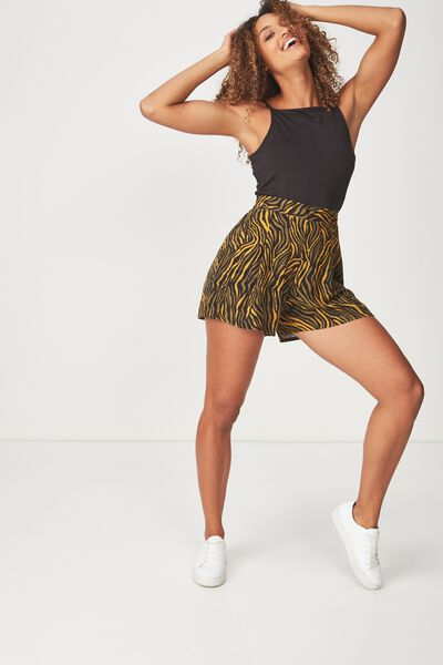 Maya Flirty Short, SARAH ZEBRA OLIVE AND BLACK