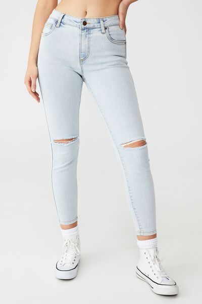 Mid Rise Cropped Skinny Jean, HENLEY BLUE RIP