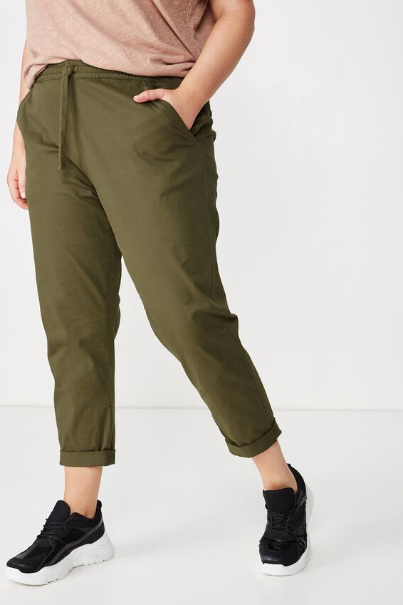 Curve Rolled Hem Chino, BURNT OLIVE