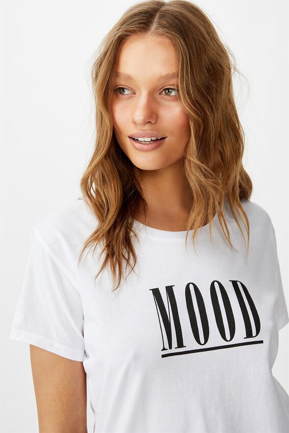 Classic Slogan T Shirt, MOOD/WHITE