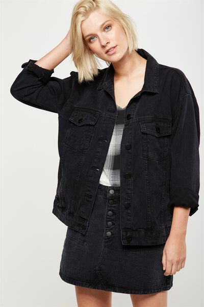 Boyfriend Trucker Denim Jacket, WASHED BLACK