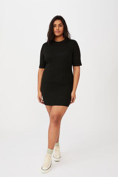 Curve Tahlia True Knit Mini Dress, BLACK