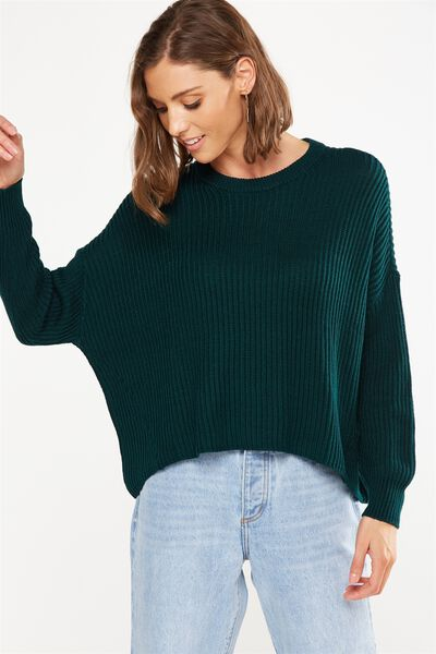 Archy Cropped Pullover, VELVETY GREEN