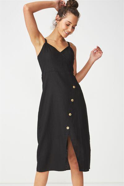 Woven Kensey Button Up Midi Dress, BLACK
