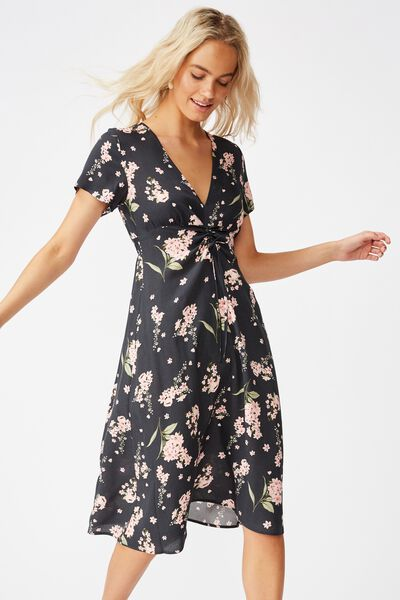 Woven Issa Gathered Front Midi Dress, NAOMI FLORAL EBONY