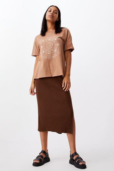 Stella Knit Midi Skirt, WOODLAND BROWN