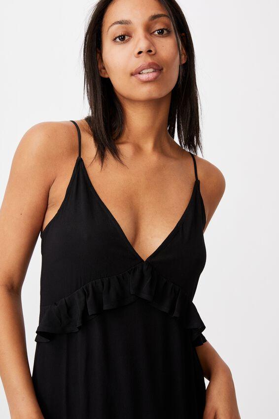 Woven Max Strappy Midi Dress, BLACK