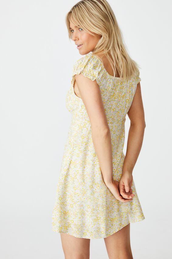 Woven Maive Sweetheart Tea Dress, ELSIE FLORAL CALI YELLOW