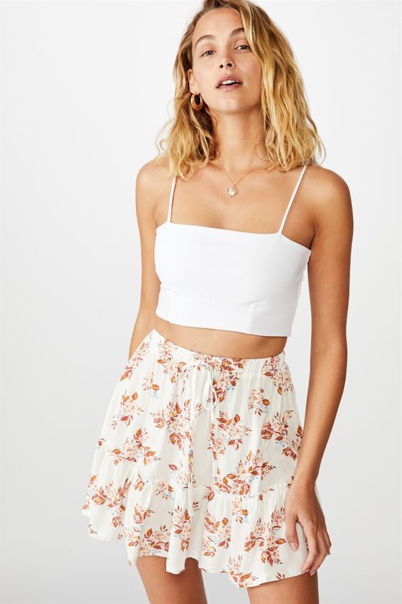 Penny Tiered Mini Skirt, LIBBY ROSE GARDENIA