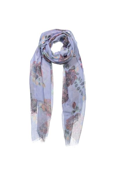 Wrap Yourself Print Scarf, JENNY FLORAL SLATE BLUE