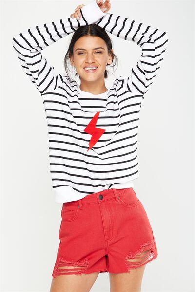 Ferguson Graphic Crew Sweater, BOLT BLACK STRIPE/WHITE