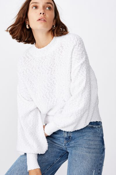 Blousson Textured Pullover, BRIGHT WHITE