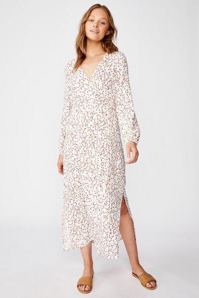 Woven Marlow Wrap Midi Dress, EVIE DITSY MARSHMALLOW