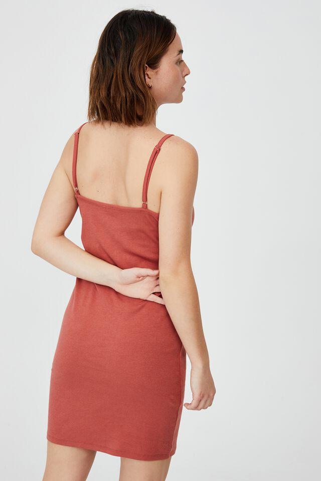 Finn Straight Neck Strappy Mini Dress, EARTHY RED