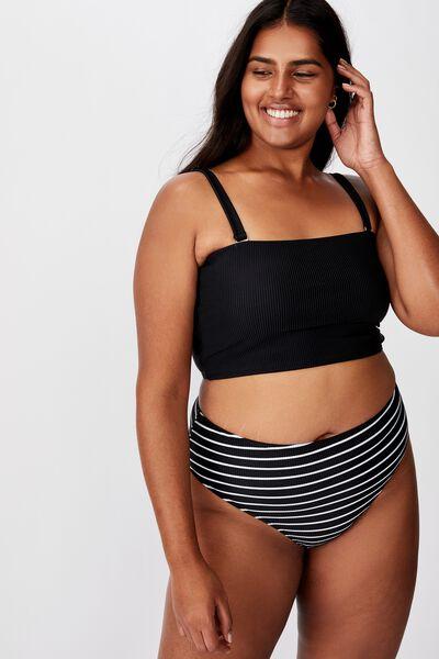 Curve High Waisted Full Bikini Bottom, BLACK WHITE STRIPE RIB