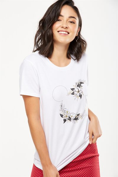 Tbar Fox Graphic T Shirt, LCN MICKEY FLORAL SKETCH/WHITE