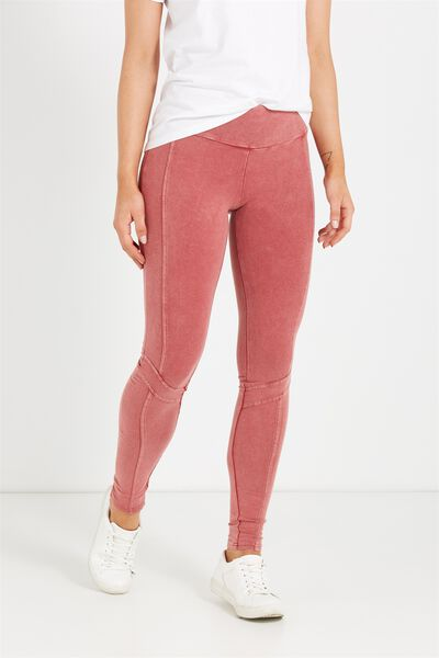 Dakota Detail Legging, ROSEWOOD WASH PANEL SPLICE