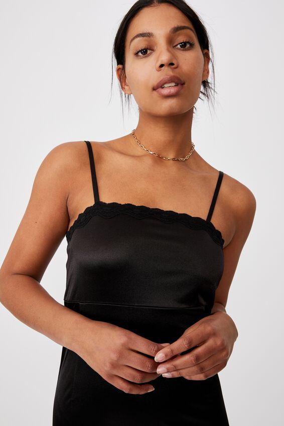 Lara Lace Strappy Mini Dress, BLACK