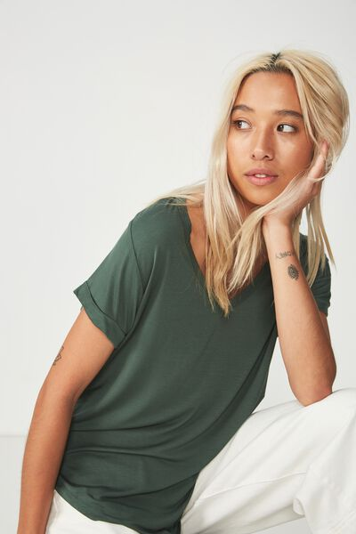 Karly Short Sleeve V Neck Top, JUNGLE GREEN