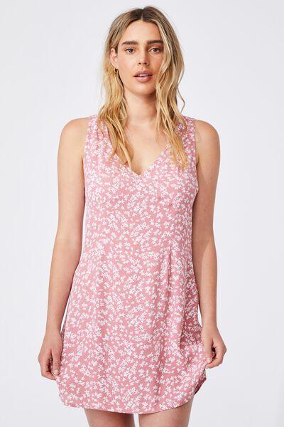 Woven Petite Danny Deep V Sleeveless Mini Dress, CORA DITSY DUSTY ROSE