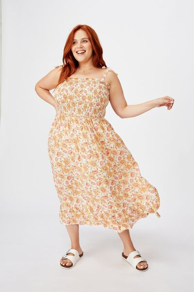 Curve Shirred Midi Dress, SUNDAY FLORAL BORDER APRICOT ICE