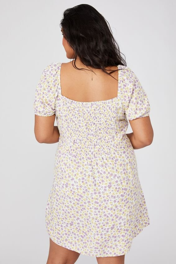 Curve Woven Lylah Bell Sleeve Mini Dress, CLARE ROSE MULTI