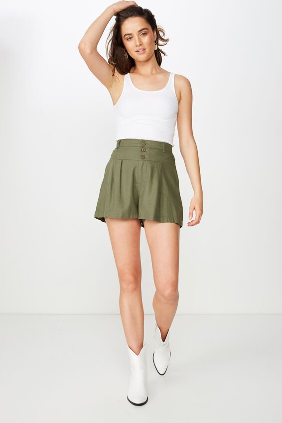 Georgie Yoke Front Short, BURNT OLIVE