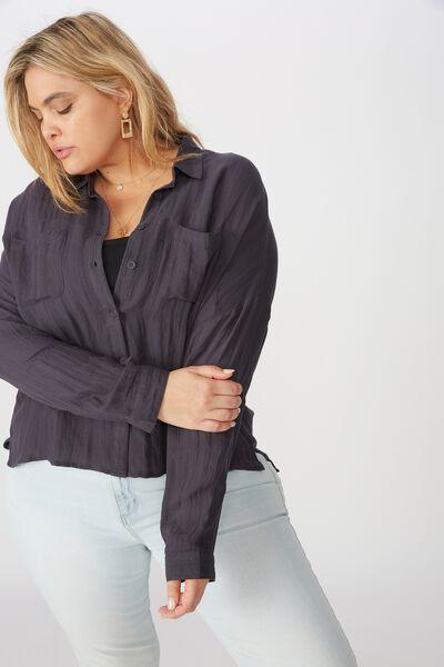 Curve Oversized Drop Shoulder Shirt, WASHED EBONY