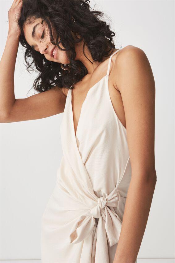 Woven Satin Strappy Wrap Midi Dress, OAT