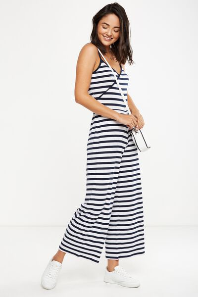 Sia Strappy Culotte Jumpsuit, LUCY STRIPE TOTAL ECLIPSE