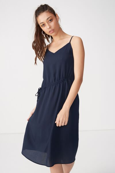 Woven Mimi Rouched Midi Dress, NAVY