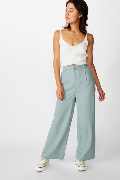Pleat Front Drapey Pant, CHINOIS GREEN