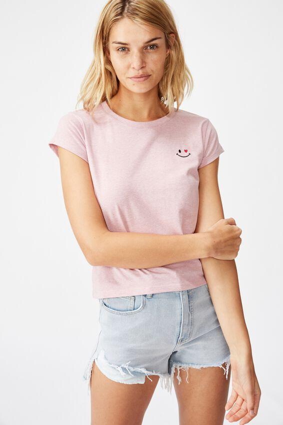 Essential Art T Shirt, LOVE SMILE/KEEPSAKE LILAC MARLE