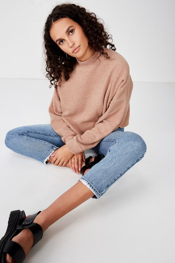 Brina Brushed Rib Mock Neck, BROWNIE