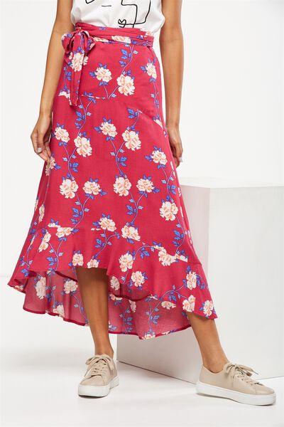 Woven Carlette Maxi Skirt, JUDDY FLORAL CERISE