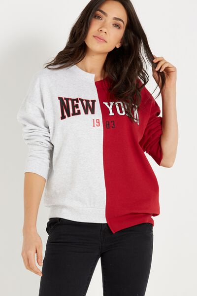 Splice Sweater Crew, NEW YORK/SILVER MARLE/RUBY RED