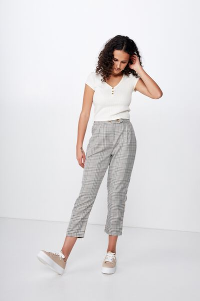 Amy Tapered Pant, SARA CHECK LIGHT OLIVE