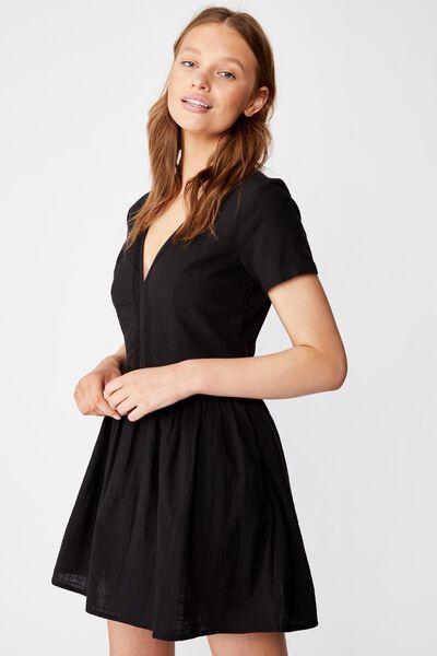 Woven Harlow Short Sleeve Mini Dress, BLACK