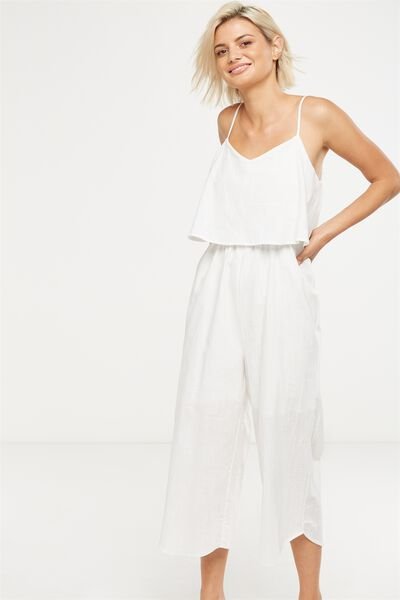 Woven Maddox Jumpsuit, WHITE TEXTURE