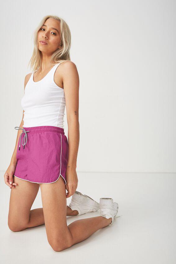 Becca Sporty Short, PURPLE PIPING