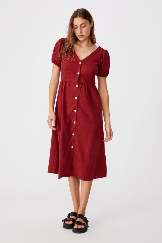 Woven Hanna Bell Sleeve Midi Dress, SUNDRIED TOMATO