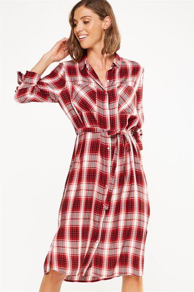 Woven Miley Check Button Midi Shirt Dress, JOSIE CHECK