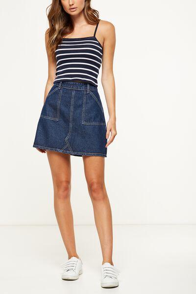 The Carpenter Mini Denim Skirt, DARK RINSE