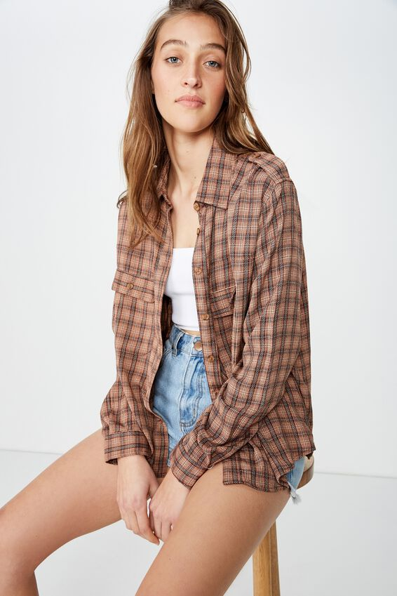 Cropped Utility Shirt, LEXI CHECK TORTOISE SHELL