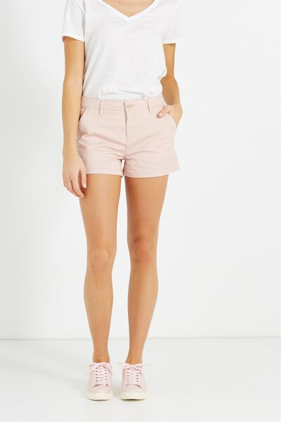 The Slant Pkt Chino Short, SATEEN NUDE PINK UNCUFFED