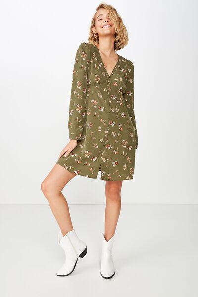 Woven Dotti Long Sleeve Mini Dress, GEORGIA FLORA BURNT OLIVE