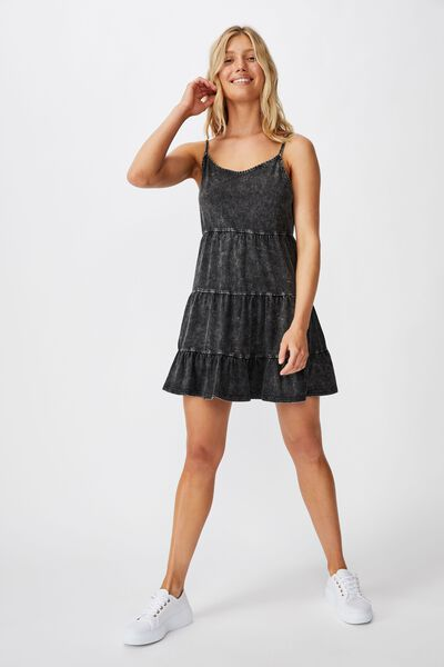 Kat Strappy Tiered Mini Dress, WASHED BLACK